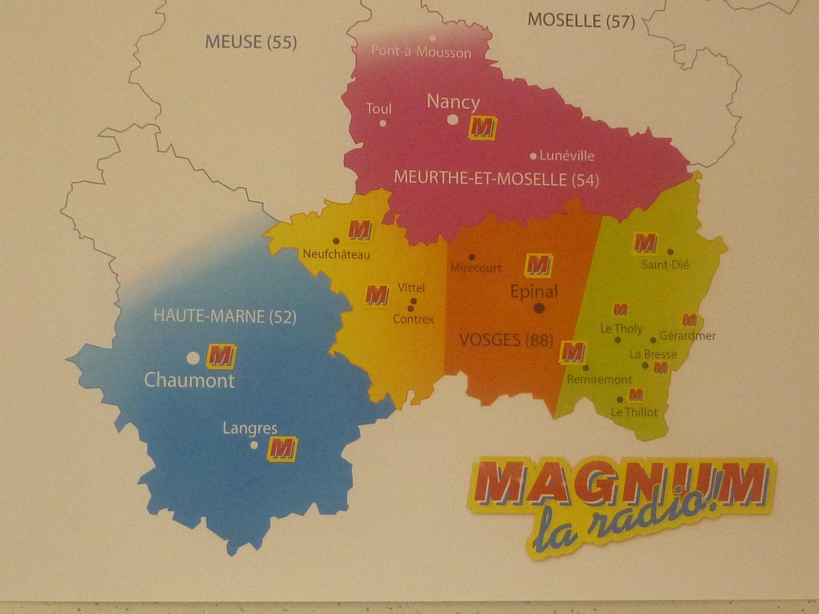 Carte des lieux de diffusion de Magnum